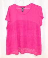 Style & Co Lace Panel Short Sleeve Top Pink Breeze L NWT