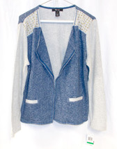 Style & Co Petite Studded Open Front Blazer Mountain Blue PL NWT