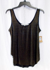 Rachel Rachel Roy Womens Metallic Ribbed Tank Top Black Gold S NWT