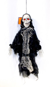 "Gray Skeleton Ghoul Jewel Eyes Halloween Poseable Hanging Decor 18"" NWT"