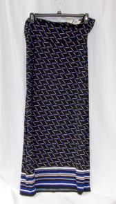 Studio M Printed Jersey Foldover Maxi Skirt Blue Black White XL NWT