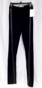Rachel Rachel Roy Womens Serpentine Ponte Faux Leather Trim Skinny High Rise Leggings Black 24 NWT
