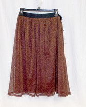 Ny Collection Womens Shimmer Pull-on A-line Skirt Wine Gold XL NWT