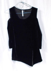 NY Collection Womens Pullover Velour  Cold-shoulder Top Black XL NWT