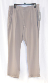 NY Collection Womens Solid Pleated Drawstring Casual Cuffed Pants Tan XL NWT