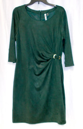 Ny Collection Dark Green Faux Suede Sheath Dress M NWT