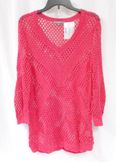 NY Collection Hot Pink V Neck Womens Sweater L NWT
