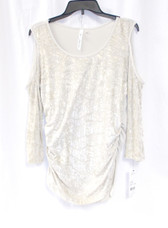 NY Collection Women's 3/4 Sleeve Cold Shoulder Velvet Pullover Champagne Gator L NWT