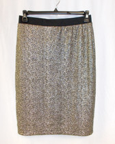 NY Collection Womens Fitted Printed Foil Skirt Gold Aureate M NWT