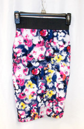 Material Girl Black Floral Print Womens Straight Pencil Skirt M NWT