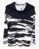 Kensie Womens Stretch Printed Cowl Neck Blouse Black White Gray Striped S NWT