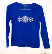 Karen Scott Womens Blue Cotton Pullover Sweater Top PS NWT