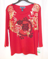 Karen Scott Printed Graphic Embellished Pullover Top New Red Amore L NWT