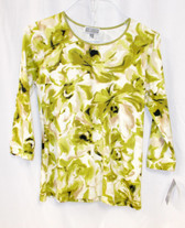 JM Collection Peony Printed Top 3/4 Sleeve Green White Tan S NWT