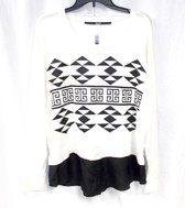 Kensie Women's Aztec Print French Terry Top  L NWT
