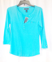 Karen Scott Three-Quarter-Sleeve Split-Neck Top XS NWT