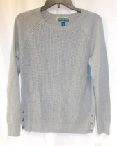 Karen Scott Textured Side Button Sweater Smoke Grey Heather S NWT