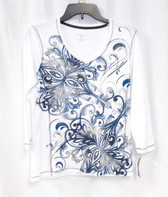 Karen Scott 3/4-Sleeve Printed Embellished Top S NWT
