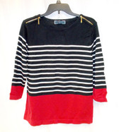 Karen Scott Red Black White Striped Sweater Gold Zip Shoulder Petite M NWT