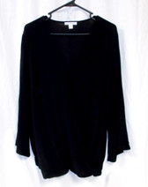 John Paul Richard Womens Textured Blouse Top Cold-shoulder Black XL  NWT