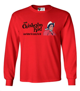 Vintage Black Heroes Men's Long Sleeved T-Shirt - The Chisholm Kid - 1 - Red