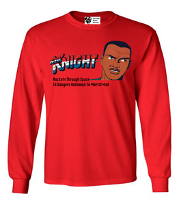 Vintage Black Heroes Men's Long Sleeved T-Shirt - Neil Knight - 2 - Red