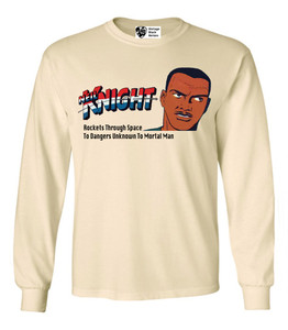 Vintage Black Heroes Men's Long Sleeved T-Shirt - Neil Knight - 2 - Natural