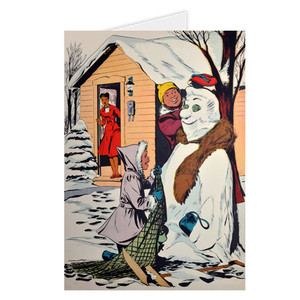 Afrotopia Greeting Cards - Vintage Snow Man - Package Of 10