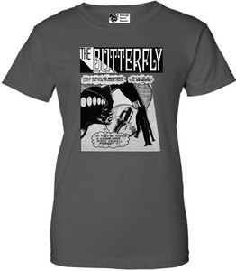 Vintage Black Heroines Women's T-Shirt - The Butterfly - 6 - Charcoal
