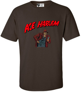 Vintage Black Heroes Men's T-Shirt - Ace Harlem - 10 - Brown