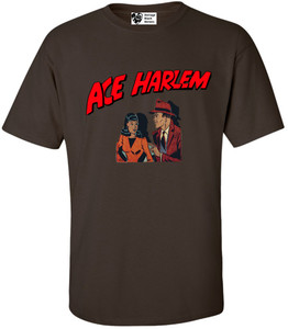 Vintage Black Heroes Men's T-Shirt - Ace Harlem - 11 - Brown