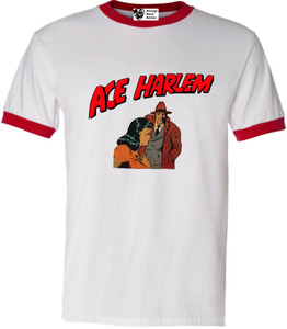 Vintage Black Heroes Men's T-Shirt - Ace Harlem - 15 - Red Ringer