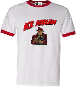 Vintage Black Heroes Men's T-Shirt - Ace Harlem - 16 - Red Ringer