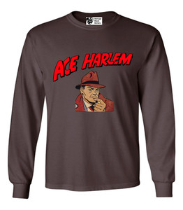 Vintage Black Heroes Men's Long Sleeved T-Shirt - Ace Harlem - 1 - Brown