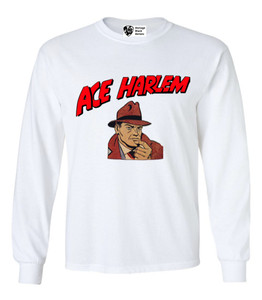 Vintage Black Heroes Men's Long Sleeved T-Shirt - Ace Harlem - 1 - White