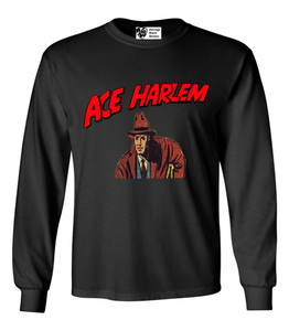 Vintage Black Heroes Men's Long Sleeved T-Shirt - Ace Harlem - 4 - Black