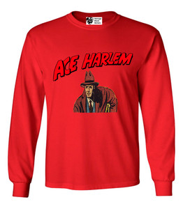 Vintage Black Heroes Men's Long Sleeved T-Shirt - Ace Harlem - 4 - Red