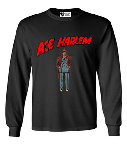 Vintage Black Heroes Men's Long Sleeved T-Shirt - Ace Harlem - 6 - Black