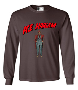 Vintage Black Heroes Men's Long Sleeved T-Shirt - Ace Harlem - 6 - Brown