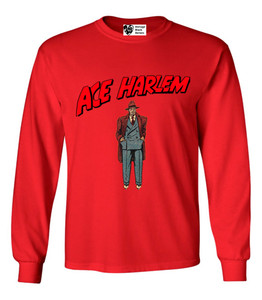 Vintage Black Heroes Men's Long Sleeved T-Shirt - Ace Harlem - 6 - Red