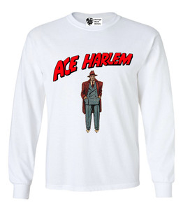 Vintage Black Heroes Men's Long Sleeved T-Shirt - Ace Harlem - 6 - White