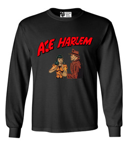 Vintage Black Heroes Men's Long Sleeved T-Shirt - Ace Harlem - 7 - Black