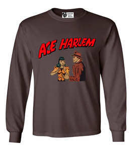 Vintage Black Heroes Men's Long Sleeved T-Shirt - Ace Harlem - 7 - Brown