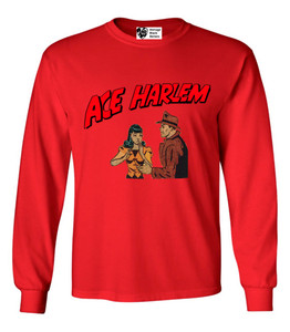 Vintage Black Heroes Men's Long Sleeved T-Shirt - Ace Harlem - 7 - Red