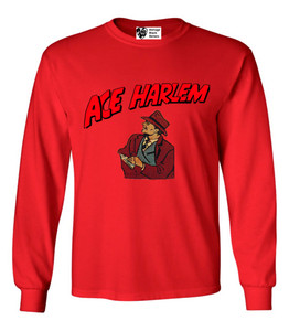 Vintage Black Heroes Men's Long Sleeved T-Shirt - Ace Harlem - 8 - Red