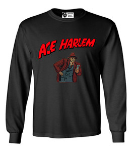Vintage Black Heroes Men's Long Sleeved T-Shirt - Ace Harlem - 10 - Black