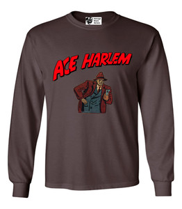 Vintage Black Heroes Men's Long Sleeved T-Shirt - Ace Harlem - 10 - Brown