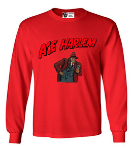 Vintage Black Heroes Men's Long Sleeved T-Shirt - Ace Harlem - 10 - Red