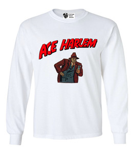 Vintage Black Heroes Men's Long Sleeved T-Shirt - Ace Harlem - 10 - White