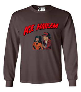 Vintage Black Heroes Men's Long Sleeved T-Shirt - Ace Harlem - 11 - Brown
